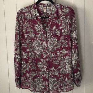Kut From The Kloth Burgundy Button Down Blouse